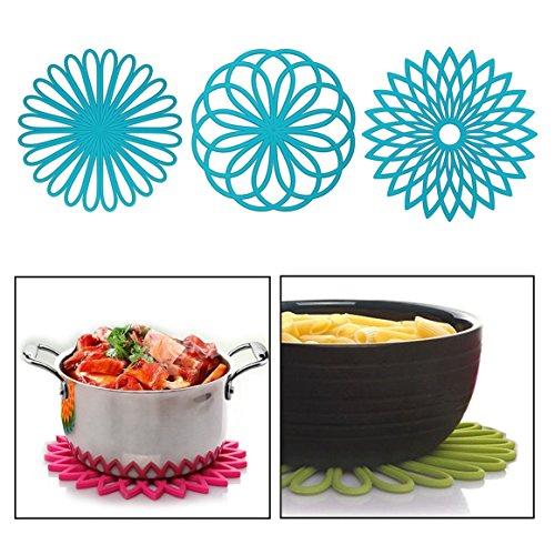 Itian 3 pcs Silikon Multi Blume Topfuntersetzer,Flexibel robust rutschfeste Hot Pads und Untersetzer Cup(blau) Hot-pad