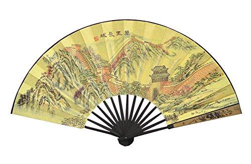 Black Temptation Retro-Stil Bambus Seide Falten Hand Fan - das große Mauer Muster