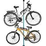ALLEGRA Fahrrad-Wandhalterung Fahrradhalterung Fahrradaufhängung Fahrradmontageständer (Blau, 2 Halter + Stange 200cm - 375cm)