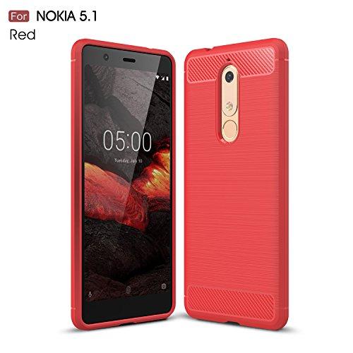 CruzerLite Nokia 5.1 hülle, Flexible Slim Case with Leather Texture Grip and Shock Absorption TPU Cover Schutzhülle für Nokia 5.1 (Red)