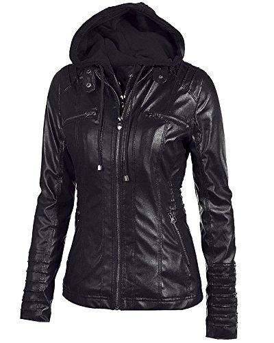 Femmes Manche Longue Veste En Cuir Vintage Stand Collar Manteau Zipper Slim Fit Noir