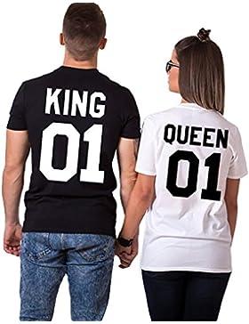JWBBU Pareja Camiseta Rey Reina 01 Impresión Hombres Mujer Casual Fashion Tops Tees, San Valentín Amante Pareja...