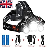Gearari 5-in-1 Super Bright 4 Modes LED Head Torch , Rechargeable Waterproof Focus