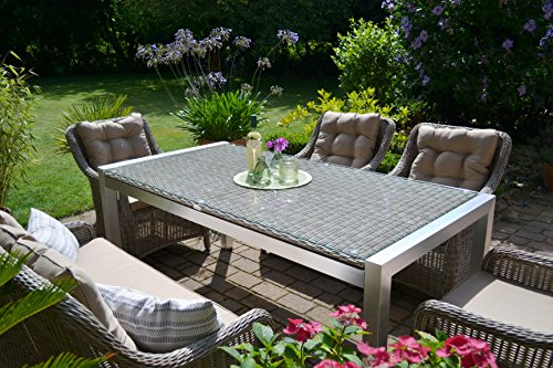 gartenm bel set tisch bank und 4 sessel rattan polyrattan geflecht paris 7 sand grau spar. Black Bedroom Furniture Sets. Home Design Ideas