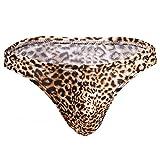 Tenchif Herren Unterwäsche Tanga Leopard-Druck Bulge Pouch Unterhose