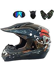 YYCC-helmet Casco Adulto Motocross Casco Moto MX ATV Casco Scooter ATV D.O.T Certificato Rockstar Multicolore con Maschera Guanti Maschera,M(54~55cm)