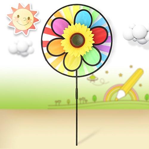 ECMQS Bunte Sonnenblume Windmühle Spielzeug, Kinder Garten Dekoration Verzierung, bunte draußen Spinner | Garten > Dekoration > Windmühlen | ECMQS