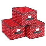 SONGMICS Set di 3 Scatole Portaoggetti Pieghevoli con Coperchio, Contenitori Natalizi in Tessuto con Etichetta, Scatole per Armadio, 30 x 40 x 25 cm, Rosso con Fiocchi di Neve RXFB03G