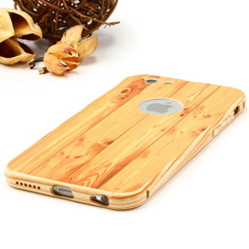iPhone 6 / 6s Coque, Urcover Wood Style [Look Bois] Housse Téléphone Smartphone Rouge Marron Étui Apple iPhone 6 / 6s Case Cover Hêtre