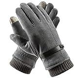 Acdyion Handschuhe Winter Damen Touchscreen Wildleder super weiche Handschuhe Outdoor Fahrradhandschuhe dickes Fleecefutter Wildlederhandschuhe (Grau)