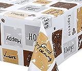 Premium Wachstuch LFGB Tischdecke für Garten und Küche, abwischbar, glatt Happy Coffee, Größe wählbar (100 x 140 cm)