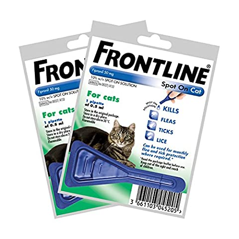 Frontline Spot On For Cats - 2 x 0.5ml Pipettes