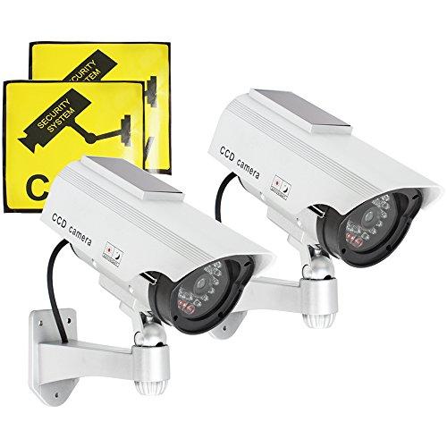COM-FOUR 2x Solar-Sicherheitskamera Dummy mit LED, Überwachungskamera-Attrappe mit Wandhalterung (2 Stück)