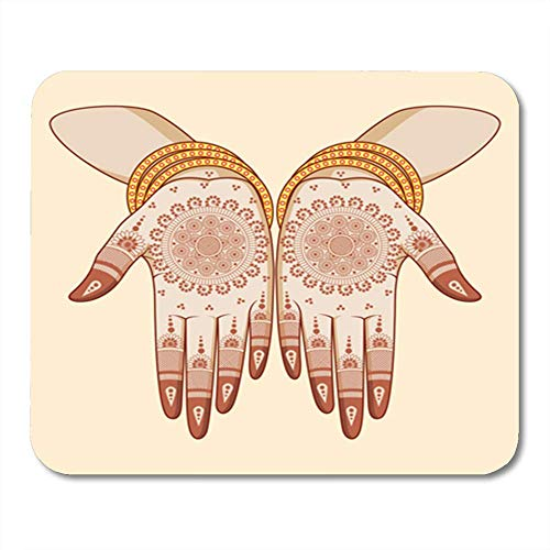 256b7bc4c Alfombrillas de ratón Mouse Pad Colorful Mehndi Indian Bride with Mehandi  in Hand Henna Mehendi Ceremony