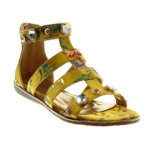 Angkorly Scarpe Moda Sandali con Cinturino Alla Caviglia Gladiatore Donna Gioielli Fiori Ricamo Tacco Tacco Piatto 1.5 cm Ingiallimento