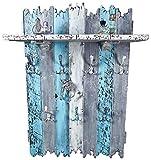SHaBBy CHic ViNTaGe XXL Holz Garderobe mit 7x3 Metallhaken blau hellgrau weiß (HXBXT: 115x7ox15 cm) aus Echtholz/Massivholz im used look rustikal Landhaus Stil (alternativ: Gaderobe, Gardrobe)