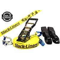 Slack-liners - Cuerda de equilibrista (incluye sistema de agarre, ancho: 50 mm, largo: 30 m), color amarillo