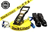 6 Teiliges Slackline-Set GELB - 50mm breit, 30m lang - mit Langhebelratsche - Slack-Liners - Made in Germany