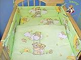 blueberryshop Babybett Bettbezug und Kissenbezüge Bettwäsche Set, 150x 120cm, grün, 2-teilig
