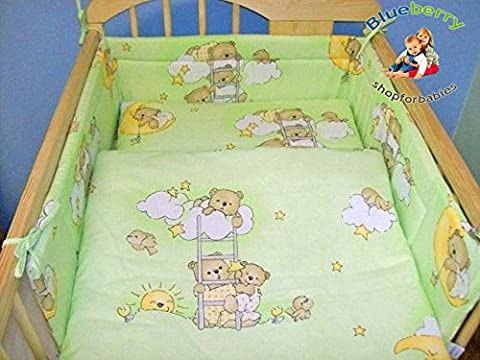 BlueberryShop 2 Piece Baby Cot Duvet and Pillow Covers Bedding Set, 120 cm Length x 90 cm Width, Green Bear on Ladder