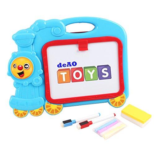deAO-Pizarra-Tren-Multicolor-Conjunto-Porttil-de-Actividades-y-Dibujo-Pizarra-Blanca-y-de-Tiza-con-Accesorios-Incluidos