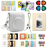 Katia Mini 90 Instant Film Camera Accessories Bundle for Fujifilm Instax Mini 90 - Camera Case/Colorful Camera Strap/Close Up Lens/Photo Ablum/Wall Hanging Frames/Film Frames/Stickers - White
