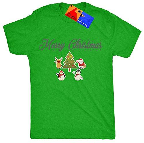 Pablo Stampe di Babbo Natale e i suoi amici-Buon Natale da uomo T shirt Green X-Large