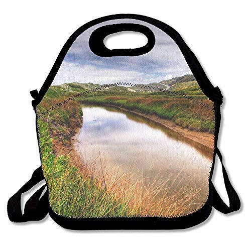 fengxutongxue Sunset Scenery Insulated Lunch Bag with Zipper,Carry Handle and Shoulder Strap for Adults Or Kids Black