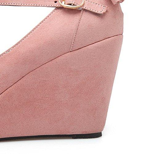 VogueZone009 Femme Boucle à Talon Haut Suédé Couleur Unie Pointu Chaussures Légeres Rose
