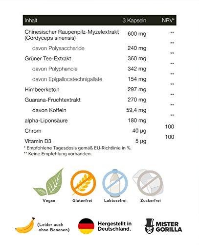 FETTBRENNER ★ Natürlicher & hochdosierter Fatburner | Raspberry Ketone, Grüner Tee, Guarana & Cordyceps | Beliebt bei Männern & Frauen | 90 Kapseln | von MISTER GORILLA