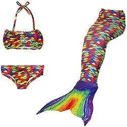Qincos 3PCS Bikini Sirena Traje de baño Disfraz de Sirena Princesa Mermaid swimsuit para niñas