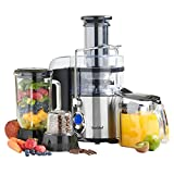 Juicers Best Deals - VonShef 3-in-1 Digital Whole Fruit Juicer, Blender & Grinder, 800W - 5 Speeds + Pulse Function