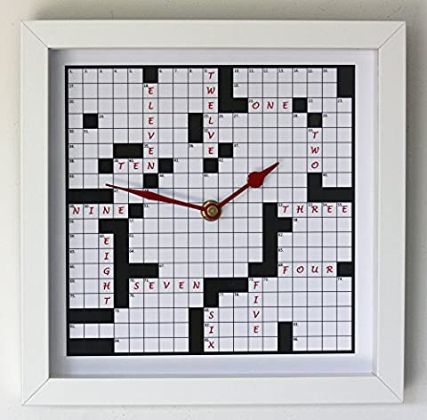 NEW 25cm Crossword Puzzle Wall Clock - Novelty Modern White Glass Word Puzzle Gift