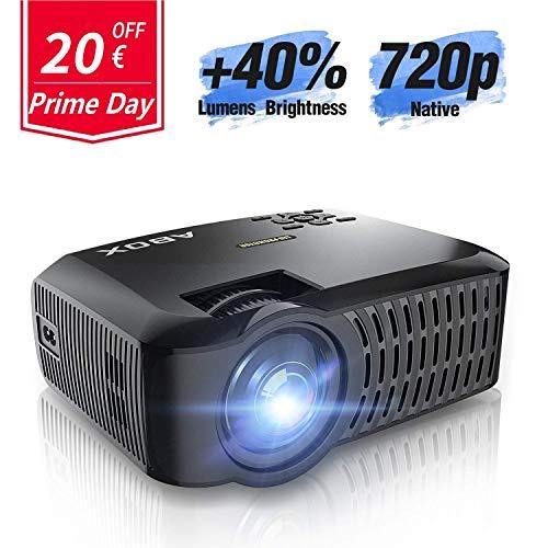 Beamer Native 720p ABOX A2 3000 Lumen Aktualisierte Mini LED Projektor,+40% Helligkeit Full HD 1080P,unterstützt HDMI USB SD VGA AV für Laptop,Smartphone Perfekt für Fußballspiele,Filme-Schwarz