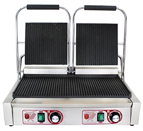 Beeketal \'BKG7\' Gastro Doppelt Kontaktgrill mit Gusseisen Grillpatten (oben und unten gerillt) mit Fettauffangschale, Profi Edelstahl Elektrogrill ideal als Panini Grill Maker oder Sandwich Toaster