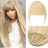 TESS Echthaar Extensions Clip Pony Haarteil Echthaar 3 Clips glatt günstig Haarverlängerung 25g #613 Blond