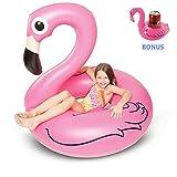 Kyerivs Flotador Flamenco para Niños y Adultos, Flamenco Hinchable De Piscina, Flamenco Colchonetas Piscina para Baños De Sol - Bonus Flamingo Drink Float