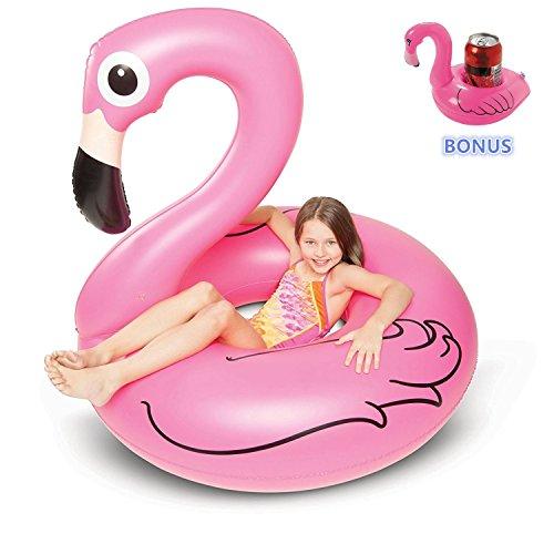 Kyerivs fenicottero gonfiabile gigante - grande accessorio divertente per la piscina, la spiaggia o una festa estiva-bonus flamingo drink float