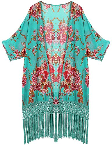 Aixy Femme Robe de Plage Boh¨ºme Cover ups Finition Fines Franges Vert