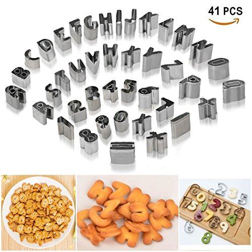 Joyoldelf 41 Stück Ausstechformen für Keks Fondant - Mini Alphabet Nummer mathematische Symbole Backzubehör mit Aufbewahrungsbox, Edelstahl