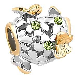 korliya Schmetterling Blume jan-dec Geburtsstein-Charm Bead für Armband