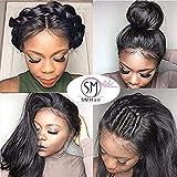 Perruques cheveux naturels pour black 150 Densité SMHair 8A bresilienne 360 perruque de dentelle complète cheveux humain pour femmes Perruque droite (silky straight) 41CM=16inch