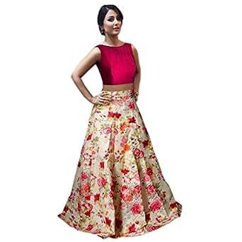 Nena Fashion Women's Satin Silk Dress Material (##hina_red_Red & Multi-Coloured_Free Size)