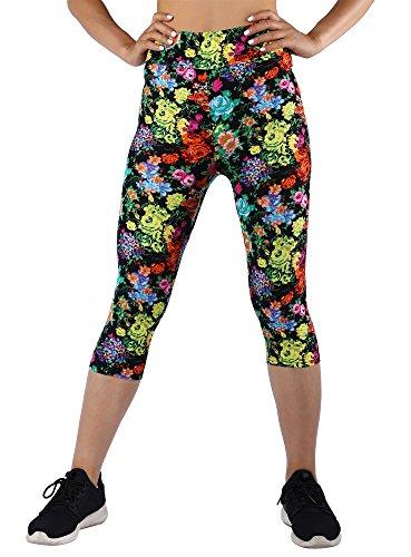 MANstore Damen Capri-Leggings, Bedruckt, Stretch, Fitnesstraining - Braun - Large/X-Large -