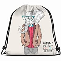 elephant hipster dressed jacket pants animals wildlife vintage Drawstring Backpack Gym Sack Lightweight Bag Water Resistant Gym Backpack for Women&Men for Sports,Travelling,Hiking,Camping,Shopping Yog