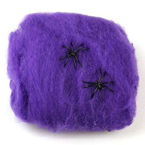 Milopon Spinnennetz Halloween Deko Netz mit 2 Spinnen Spider Home Bar Dekoration Spinnweben 2pcs (Lila)