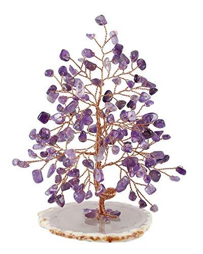 Jovivi Feng Shui árbol de Dinero Adorno 7 Chakra Piedras Preciosas árbol de la Vida curación Cristal Figuras ágata Rebanada Piedra geoda Soporte Riqueza Buena Suerte decoración del hogar, Amatista