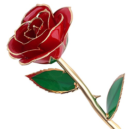 Valentines Gifts for Her,QGSTAR Long Stem 24k Gold Dipped Real Rose Preserved Forever Flower Best Romantic Personalized Loving Gift for Wife Girlfriend Birthday,Mother's Day,Wedding Anniversary (Red)