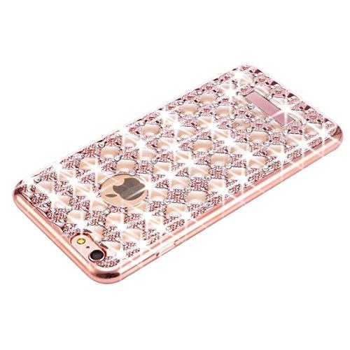 Phone case & Hülle Für iPhone 6 Plus & 6s Plus Agate & Diamond verkrustete Galvanotechnik TPU schützende rückseitige Abdeckungs-Fall ( Color : Black ) Rose Gold