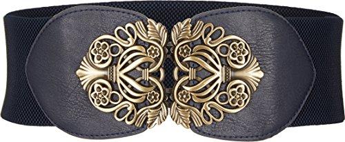 l Breit Korsett Elastische Vintage Taillengürtel (Nachtblau, EUR 38-40) ()